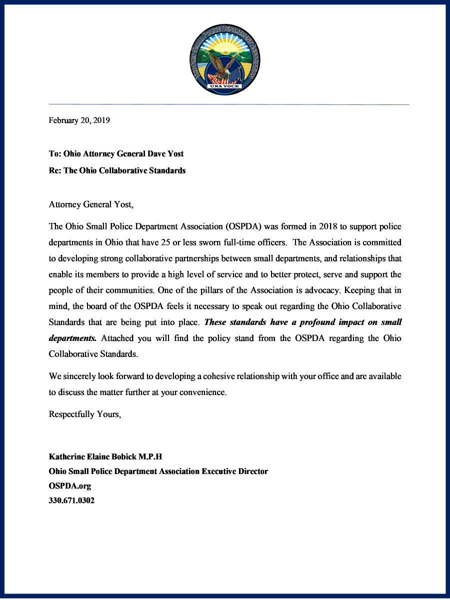 Letter to Attorney General Yost